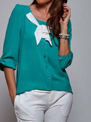 Πράσινο σμαραγδί πουκάμισο με φιόγκο Rinascimento