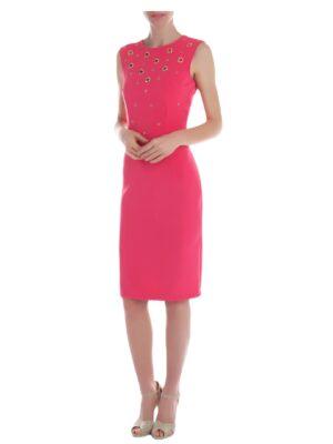 Φούξια στενό φόρεμα με τρουκς Rinascimento