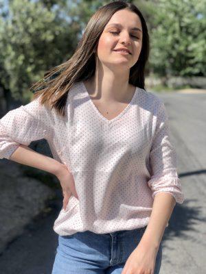 Ροζ πουά βε μπλούζα Vicky Kaffe