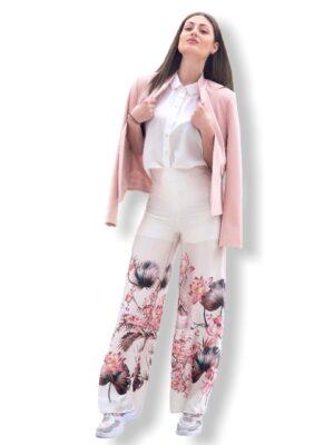 Λευκή παντελόνα καμπάνα Flowers Rinascimento