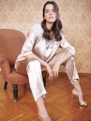 Μπεζ γυαλιστερό παντελόνι plus size Kitana by Rinascimento