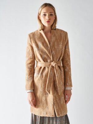 καμηλό παλτό με παγιέτες Rinascimento