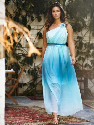 Plus size μάξι φόρεμα με έναν ώμο Kitana by Rinascimento