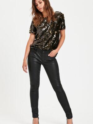 Μαύρο τζιν παντελόνι με δερματίνη Demim Hunter