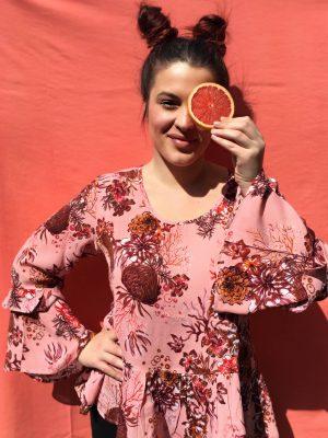 Ροζ φλοράλ μπλούζα Latisha Cream