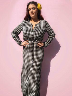 Μάξι καθημερινό καρό φόρεμα Kaselby Kaffe