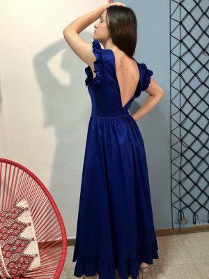 Μάξι μπλε λουλακί φόρεμα Rinascimento
