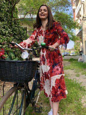 Φλοράλ μίντι φόρεμα Rinascimento