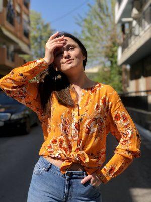 Πορτοκαλί εμπριμέ πουκάμισο Alexandra Kaffe