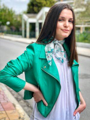 Πράσινο σμαραγδί δερμάτινο μπουφάν Rinascimento
