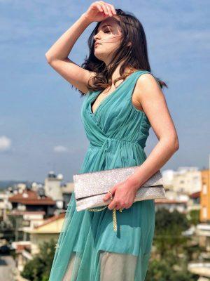 Τσάντα φάκελος μεγάλος ασημί Rinascimento