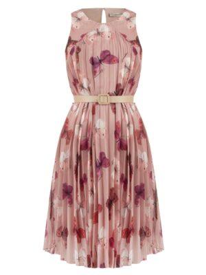 Ροζ πλισέ φόρεμα Butterfly Rinascimento