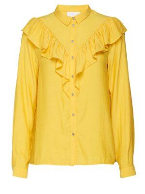 Κίτρινο πουκάμισο με βολάν Gry Kaffe