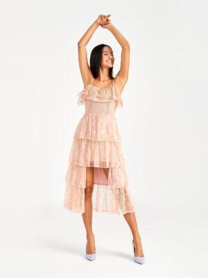 Μπεζ nude φόρεμα δαντέλα Rinascimento