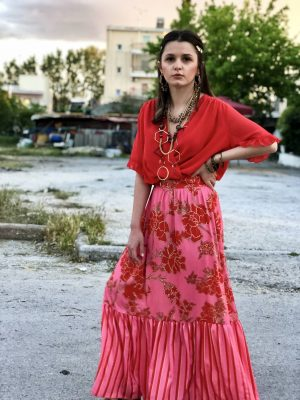Μάξι εμπριμέ φούστα με βολάν Rinascimento