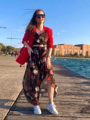 Μάξι μαύρο φλοράλ εξώπλατο φόρεμα Rinascimento