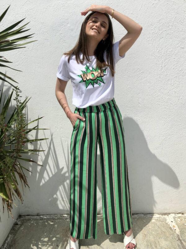 Πράσινη ριγέ παντελόνα Kabolette Kaffe
