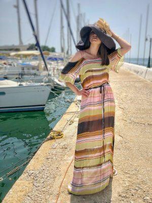 Μάξι έξωμο ριγέ φόρεμα Rinascimento