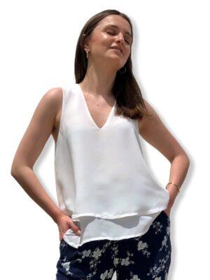 Λευκή αμάνικη βε μπλούζα Rinascimento