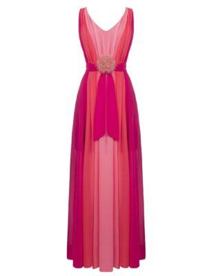 Μάξι αέρινο φούξια φόρεμα Rinascimento