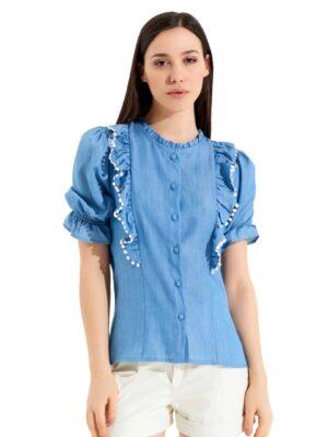Κοντομάνικο τζιν πουκάμισο Rinascimento