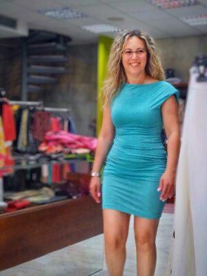 Τιρκουάζ μίνι στενό φόρεμα Rinascimento