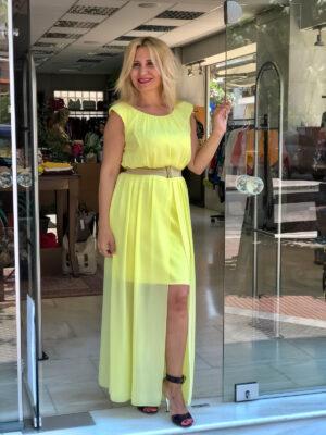 Κίτρινο μακρύ φόρεμα Rinascimento