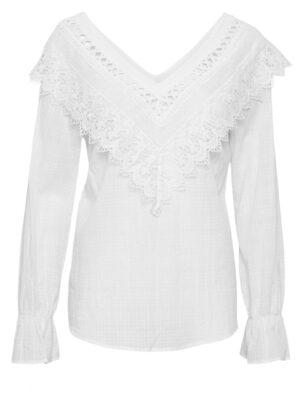 Λευκή μπλούζα με κιπούρ δαντέλα Agna Cream