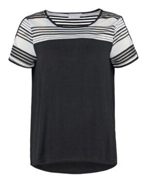 Κοντομάνικη μαύρη μπλούζα με ρίγες Geline Kaffe
