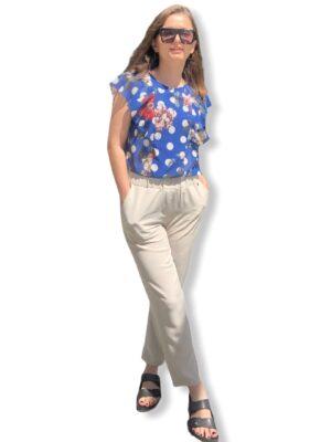 Μπεζ παντελόνι με λάστιχο Rinascimento