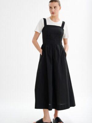 Μαύρο μίντι βαμβακερό φόρεμα Drea Inwear