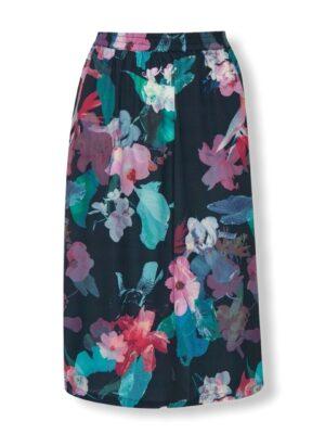 Μπλε εμπριμέ φούστα σε Α γραμμή Orchid Kaffe