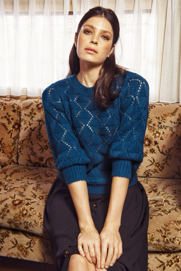 Πετρόλ γυναικείο πουλόβερ Joanna Kaffe
