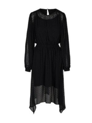 Μαύρο ασύμμετρο φόρεμα με φουσκωτά μανίκια Becca Desires