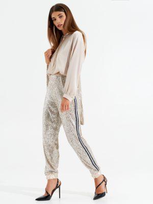 Γυναικείο παντελόνι με παγιέτες Rinascimento