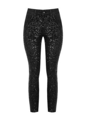 Μαύρο τζιν παντελόνι με παγιέτα Rinascimento