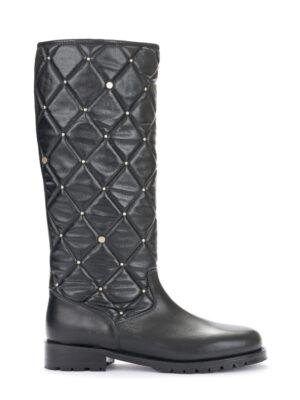 Μαύρες καπιτονέ δερμάτινες μπότες Rinascimento
