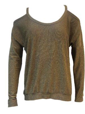 Έξωμη χρυσή λούρεξ μπλούζα Rinascimento