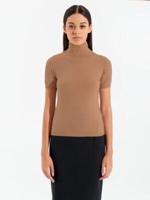 Πλεκτή κοντομάνικη ζιβάγκο μπλούζα Rinascimento