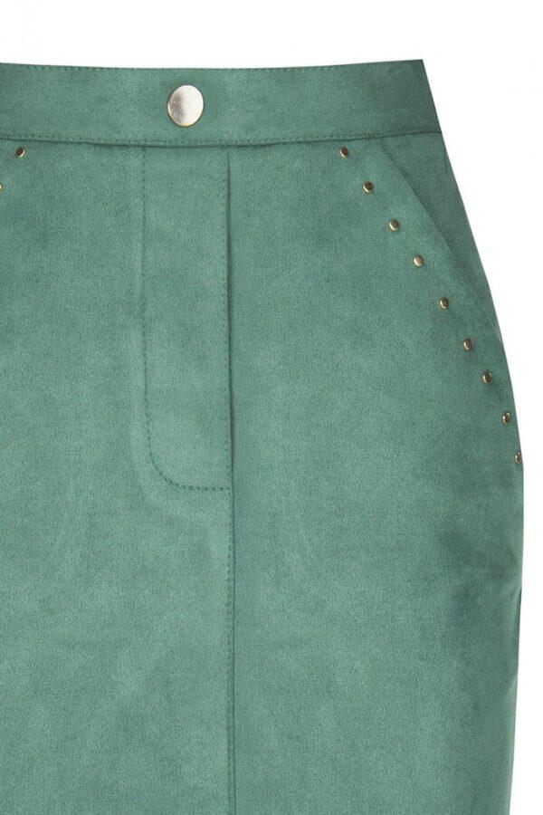Πράσινη σμαραγδί μίνι σουέντ φούστα Rinascimento