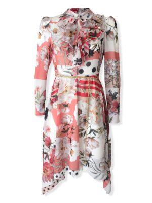 Φλοράλ φόρεμα με μύτες Rinascimento