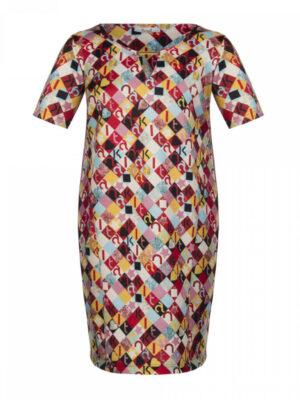 Καθημερινό κοντομάνικο φόρεμα Plus Size Kitana by Rinascimento