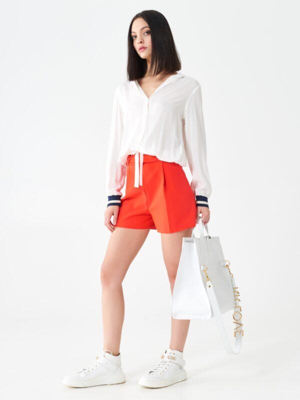 Γυναικείο λευκό πουκάμισο με κουκούλα Rinascimento