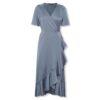 Μίντι σατέν σταυρωτό φόρεμα Karven Soaked in Luxury