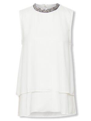 Λευκή γυναικεία βραδινή μπλούζα Cekine Kaffe