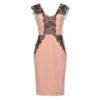 Ροζ στενό φόρεμα με δαντέλα Rinascimento