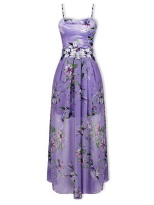 Μωβ φλοράλ σατέν φόρεμα Rinascimento