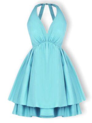 Τυρκουάζ μίνι φόρεμα με βολάν Rinascimento