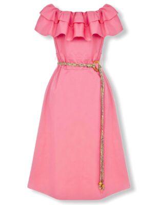 Φόρεμα έξωμο με βολάν Rinascimento