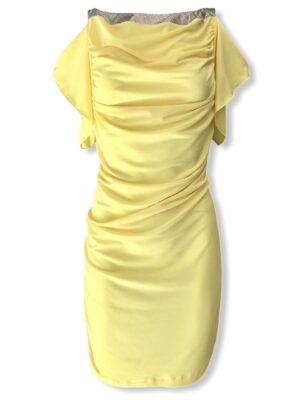 Κίτρινο ντραπέ φόρεμα Rinascimento